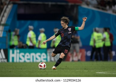 "Croatian midfielder Luka Modric. Match Russia-Croatia at World Cup 2018. ""Fisht Stadium"", Sochi. 7th of July 2018."