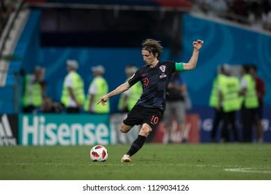 "Croatian midfielder Luka Modric. Match Russia-Croatia at World Cup 2018. ""Fisht Stadium"", Sochi. 7th of July 2018."