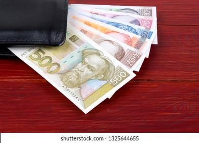 Croatian money in the black wallet