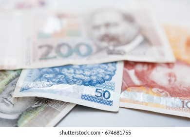 Croatian national Kuna paper currency.Close up shot of Dalmatia region banknotes. Hrvatska Kuna cash money