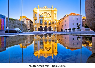 Croatian national theatre of Split water reflection view, Dalmatia region of Croatia