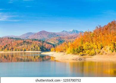 Croatian nature landscape, mountain Risnjak and Lokvarsko lake in Gorski kotar, beautiful warm colors, panoramic view
