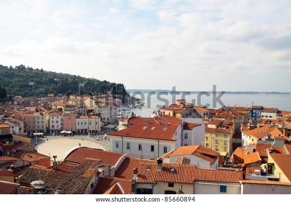 Croatian seaside resort and adritic sea coast