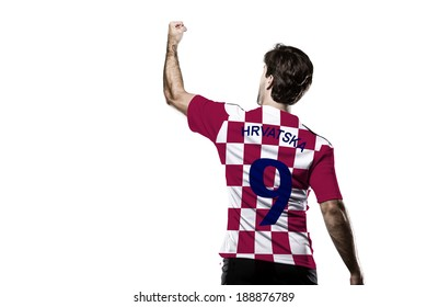 Croatian soccer player, celebrating on the White background.
