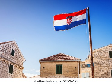 Croatian town and flag of Croatia. Travel tourism concept