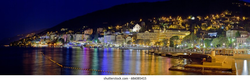 Croatian Town Opatija in the Night Panorama
