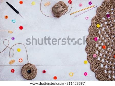 Crochet Accessories Frame Free Space Balls Of Yarn With Needles And Crochets On White