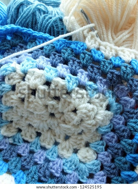 Crochet Afghan Blanket Shades Blue Cream Stock Photo (Edit