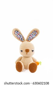 Crochet doll, rabbit doll isolated on white background