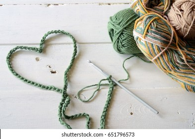 Crochet Heart Symbol and Crochet Yarn