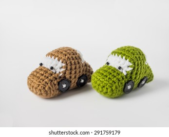 Crochet knitting doll car brown and green