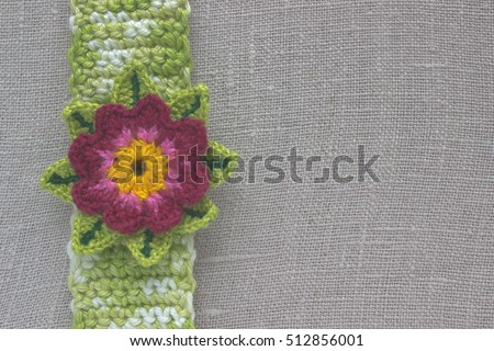 Crochet Lotus Flower On Natural Burlap Stock Photo Edit Now