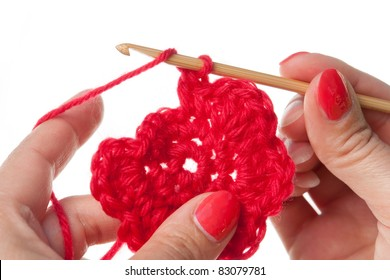 Crochet Motif with Bamboo Crochet Hook