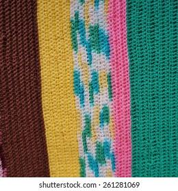 Crochet multicolor striped wool blanket knit by hand