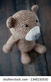 Crocheted brown bear
