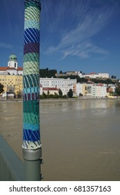 Crocheted decorations on lamposts of bridge in  Passau, Germany