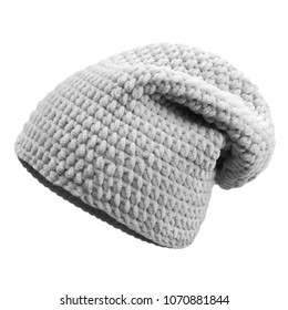 Crocheted hat isolated on white background