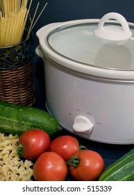 Crock pot with vegetables