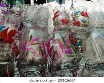 crockery glass Glasses in Stall with beautiful flower painting work