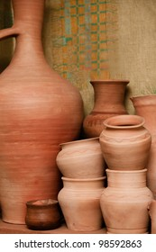 Crockery made of clay. Pitchers and pots made by hand