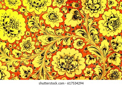 crockery painting Khokhloma Russia of bright red flowers and berries on black and gold background
