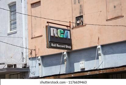Crockett, TX - August 19, 2012: Historic Downtown Crockett Texas, Ball Record Shop Vintage Sign in downtown Crockett, TX.