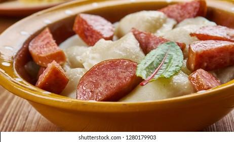 Crockpot Pierogi Casserole with Kielbasa, frozen ravioli  and chicken sausage
