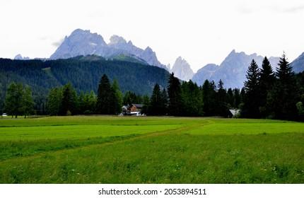 Croda Rossa di Sesto and Cima Una view from the meadows of the village of Moso