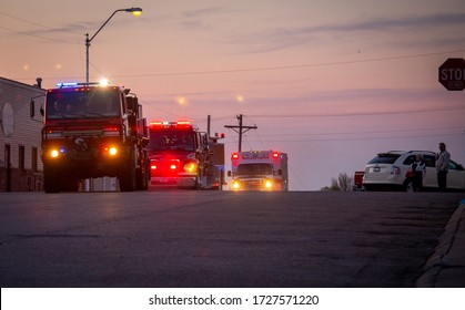 Crofton Nebraska USA, May 09, 2020 Fire Trucks and Ambulance at Evening with Light Display