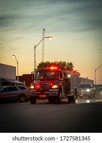 Crofton Nebraska USA May 09 2020 Fire Truck with Light Display at Sunset