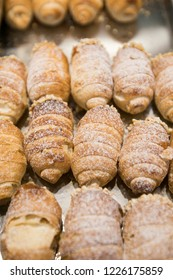 Croissant brioches called Cannoli filled with custard made and cooked in pastry Turin Italy September 2018