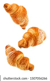 Croissant on a white isolated background. toning. selective focus