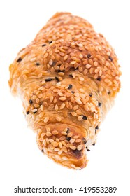 croissant with sesame on white background