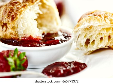 Croissant with Strawberry Jam