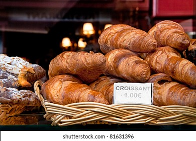 Croissant  - This is the daily breakfast in Paris. Latin Quarter, France.