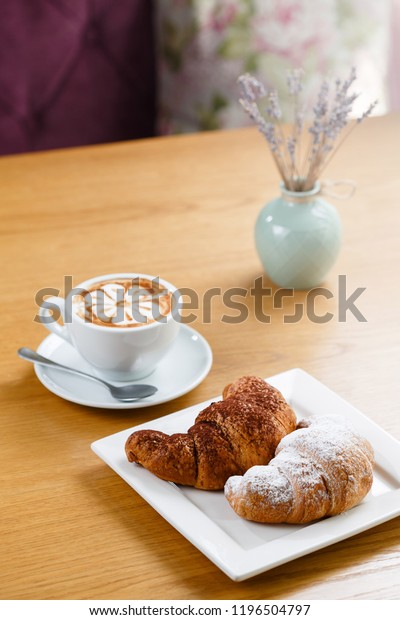 Admirable Croissants Cup Hot Coffee Served On Food And Drink Stock Image Uwap Interior Chair Design Uwaporg