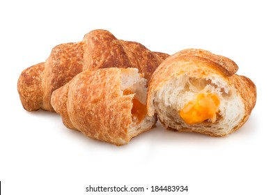 croissants on a white background, apricot jam croissants on a white background