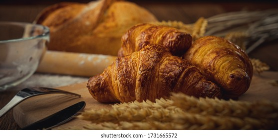 Croissants on the wood table