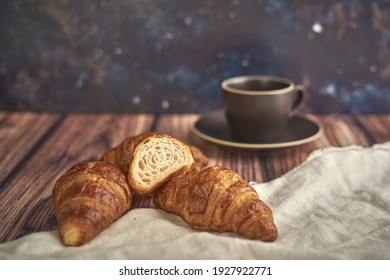 croissants  on wooden board   and coffe