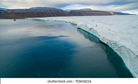 Croker Bay Glacier, in the Canadian Arctic, Northwest Passage, Canada. Drone view