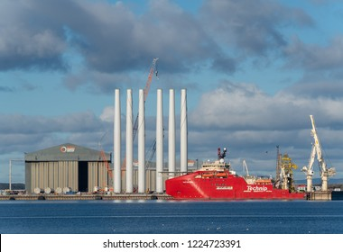 CROMARTY, INVERNESS-SHIRE, SCOTLAND - 1 NOVEMBER 2018: This is a view of some of the Industrial activities within the Cromarty Firth, Inverness-shire, Scotland on 1 November 2018.