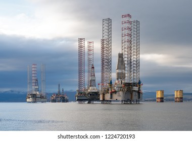 CROMARTY, INVERNESS-SHIRE, SCOTLAND - 31 OCTOBER 2018: This is some of the berthed Oil Rig's within the Cromarty Firth, Inverness-shire, Scotland on 31 October 2018