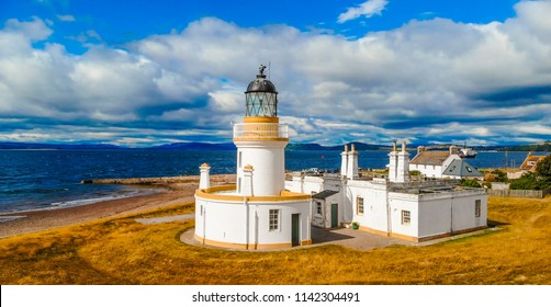 Cromarty Lighthouse at Cromarty Firth in the Scotland - aerial view