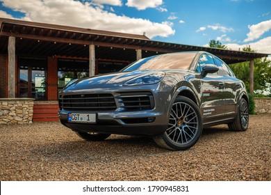 Cromcaz, Republic of Moldova: 15 July 2020. TestDrive New Porsche Cayenne Coupe. Exterior Static Images.