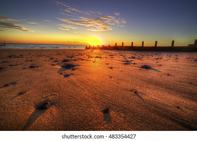 Cromer beach in Norfolk during a sunrise in the summer 2016