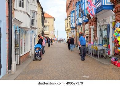 Cromer, Norfolk, UK. September 22, 2016. The High street looking towards the seafront at Cromer in Norfolk.