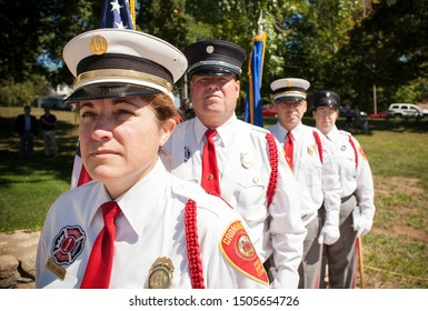 Cromwell Connecticut Fire Department Color Guard. Cromwell Connecticut September 15 2019. Presenting at the American Legion opening ceremony