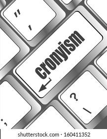 cronyism on laptop keyboard key, raster