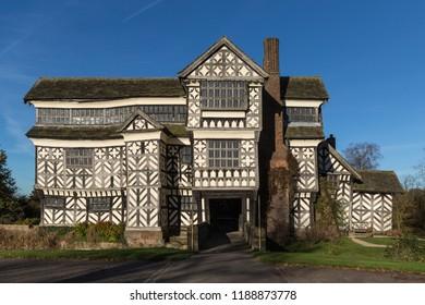 The crooked Elizabethan manor house at Little Moreton, Cheshire, England