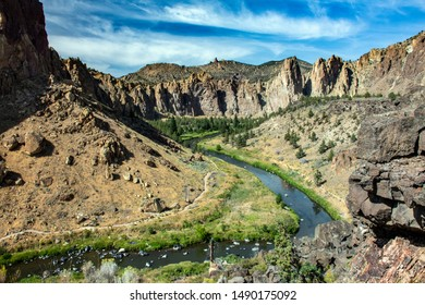 Oregonâ Crooked River bends through Smith Rock State Park near Redmond, Oregon. Scenic area is popular for hiking, picnics, and rock climbing